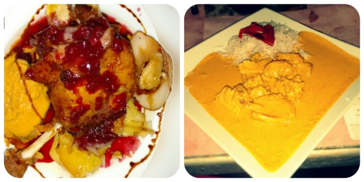 Confit de pato (Arriesgado pero muy rico) y Pollo indio (Toque justo de picante y con mucho sabor).